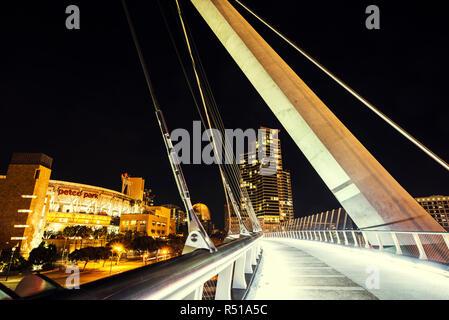 San Diego, California, USA. Close up of the Harbor Drive Pedestrian Bridge at night. - Stock Photo