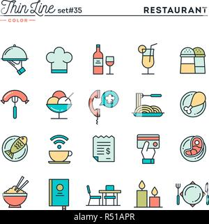 Restaurant, phone ordering, meal, receipt and more, thin line color icons set - Stock Photo