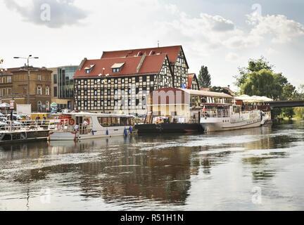Granary on embankment in Bydgoszcz. Poland - Stock Photo