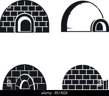 Frozen igloo icon set. Simple set of frozen igloo vector icons for web design isolated on white background - Stock Photo