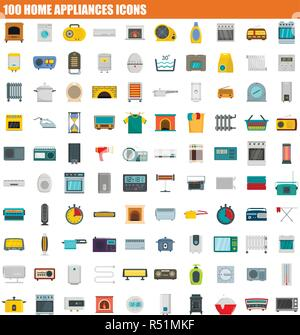 100 home appliances icon set. Flat set of 100 home appliances vector icons for web design - Stock Photo