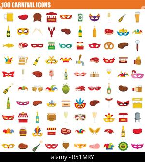 100 carnival icon set. Flat set of 100 carnival vector icons for web design - Stock Photo