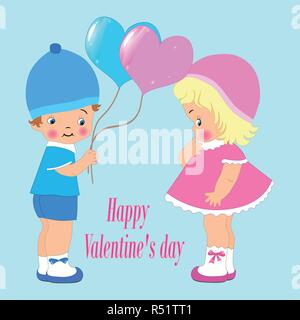 Happy Valentine's day for invitation or greeting card, cute kids, boy and girl. balloons, vector - Stock Photo