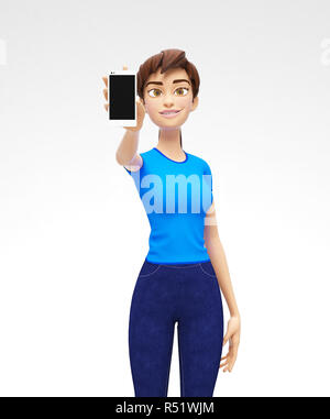Mobile Phone Mockup With Blank Screen Held by Smiling and Happy 3D Character - Stock Photo