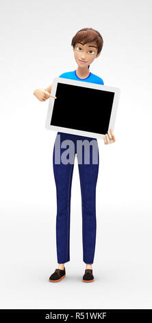 Tablet Device Mockup With Blank Screen Held by Smiling and Happy 3D Character - Stock Photo