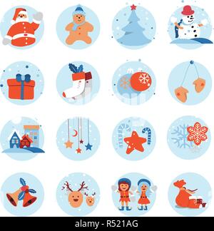 Merry Christmas and Happy New Year flat icon design with cute cartoon character for holiday greeting card decoration or banner, flyer. Vector illustra - Stock Photo