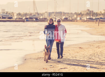 Happy senior mother her adult daughter and german shepard dog spending time together walking on beach at sunset light in Happy family moments Pet anim - Stock Photo