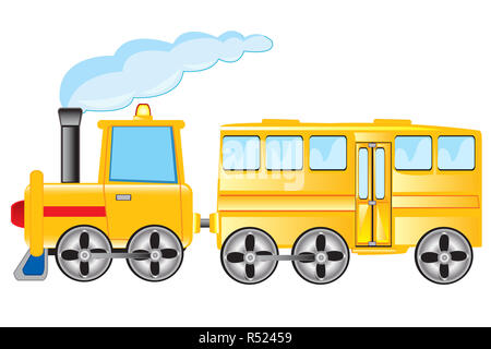 Locomotive with coach - Stock Photo