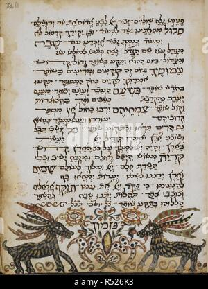 Prayers. Service Book For The Jewish New Year. 1614. A page containing prayers for the New Year.  Image taken from Service Book For The Jewish New Year.  Originally published/produced in 1614. . Source: Harley 5794, f.61. Language: Hebrew. - Stock Photo