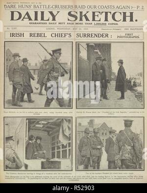 Irish rebel chief's surrender: First photographs. A newspaper report regarding the arrest of  participants of the Easter Rising, also known as the Easter Rebellion, an armed insurrection staged in Ireland during Easter Week, 1916. John MacBride was not a member of the Irish Volunteers, but upon the beginning of the Rising he offered his services to Thomas MacDonagh, and was appointed second-in-command at Jacob's biscuit factory when that post was surrendered on Sunday, 30 April 1916. He was executed on 5 May 1916. Patrick Pearse. Commander in Chief of the Irish forces. He was executed on 3 M - Stock Photo