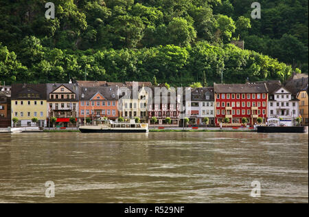 Embankment of Rhine river in Sankt Goar am Rhein. Germany - Stock Photo