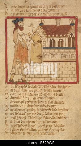 Lucafer breaks the door of the castle. ROMANCES in French verse ... 14th century. Source: Egerton 3028 f.100. Author: Wace, Canon of Bayeux. - Stock Photo