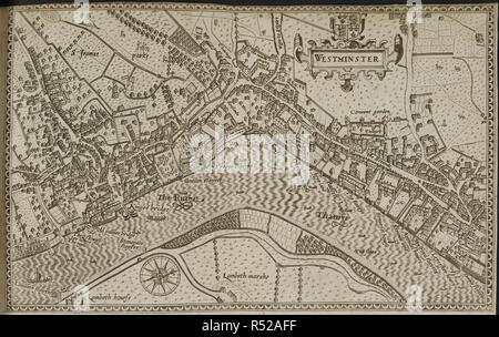 Map of Westminster. [London], 1593. Source: T.799.(2). Language: English. Author: Norden, John. - Stock Photo