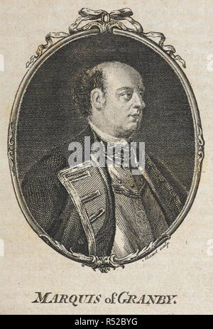 Portrait of the Marquis of Granby. General John Manners, Marquess of Granby PC, (2 January 1721 – 18 October 1770), British soldier. Granby served in the Seven Years' War as overall commander of the British troops on the battlefield and was subsequently rewarded with post of Commander-in-Chief of the Forces. He was popular with his troops and many public houses are still named after him today due, it is said, to his practice of setting up old soldiers of his regiment as publicans when they were too old to serve any longer.  . A Complete History of England Continuation to 1765. London: Richar - Stock Photo