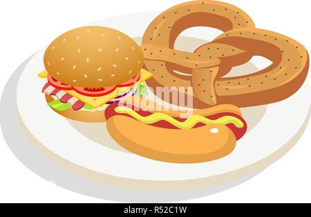 Fresh fast food on plate icon. Isometric of fresh fast food on plate vector icon for web design isolated on white background - Stock Photo