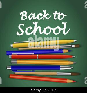 Back to school green concept background. Realistic illustration of back to school green vector concept background for web design - Stock Photo