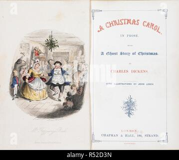 'Mr Fezziwig's ball.' A colour illustration showing a Cristmas scene, opposite a title page. A Christmas Carol in prose. Being a Ghost-story of Christmas ... With illustrations by John Leech. London : Chapman & Hall, 1843. Source: Dex.293.(1) frontispiece and title page. - Stock Photo