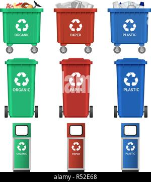 Separation recycle bin waste trash icons set. Realistic illustration of 9 separation recycle bin waste trash vector icons for web - Stock Photo