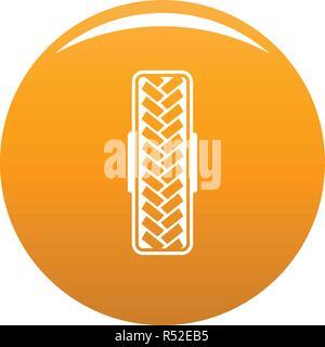 Tread pattern icon. Simple illustration of tread pattern vector icon for any design orange - Stock Photo