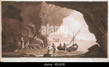 A group of fishermen and their families rest in a cave by the sea in the foreground, with towers and a coastline seen through the entrance in the background. View of a Grotto upon the Amalphi Coast in the Gulph of Salerno = Vue d'une Grotte Sur la Côte de Amalfi dans le Gulphe de Salernes. [London] : Publish'd Jan.y 15th. 1782, by A. Robertson, Charles Street, St James's Square, [January 15 1782]. Aquatint, etching and engraving, printed in sepia. Source: Maps 7.Tab.60, plate 17. Language: English and French. Author: FABRIS, PETER. - Stock Photo