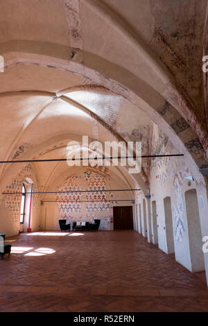 Italy, Lombardia, Cassano Adda - Castle built in the Middle Ages, renovated by Ottone Visconte. It was inhabited by Leonardo da Vinci in the tower. Frescoed rooms, - Stock Photo