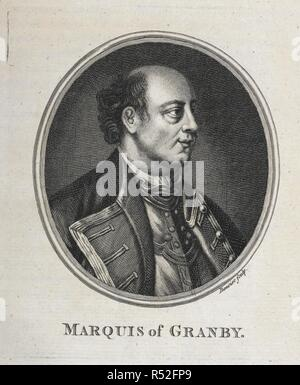 Portrait of the Marquis of Granby. John Manners, Marquess of Granby PC, (2 January 1721 – 18 October 1770), British soldier. Granby served in the Seven Years' War as overall commander of the British troops on the battlefield and was subsequently rewarded with the post of Commander-in-Chief of the Forces. He was popular with his troops and many public houses are still named after him today. The general History of the late War in ... America ... London, 1763, 64. Source: 9073.dd.11.(4) Opposite page 14. Author: Entick, John. - Stock Photo