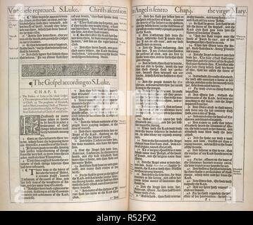 The Gospel according to St. Luke. The Holy Bible, Containing the Old Testament, and the New ...The first edition of the so-called King James Bible. Robert Barker; London, 1611. Source: C.35.l.11. Language: Englih. - Stock Photo