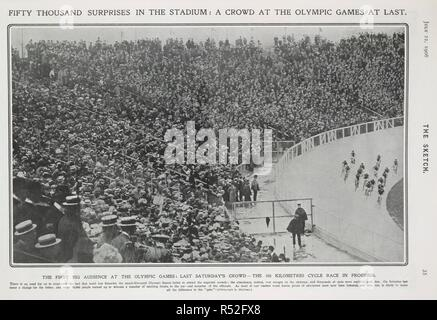 'Fifty thousand surprises in the stadium : A crowd at the Olympic games at last'. Spectators watching a 100 metres cycle race around the velodrome. The Sketch. London, July 22nd, 1908. Photograph. Games of the IV Olympiad. Source: The Sketch, page 35. Language: English. - Stock Photo
