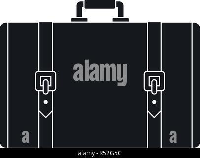 Retro suitcase icon. Simple illustration of retro suitcase vector icon for web design isolated on white background - Stock Photo