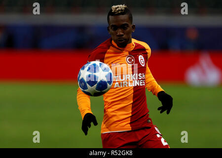 MOSCOW, RUSSIA - NOVEMBER 28: Henry Onyekuru of Galatasaray in action during the Group D match of the UEFA Champions League between FC Lokomotiv Moscow and Galatasaray at Lokomotiv Stadium on November 28, 2018 in Moscow, Russia. (MB Media) - Stock Photo