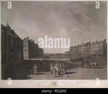 A view across Queen Square with houses at either side and landscape beyond. Well-dressed figures in the foreground and a beggar boy walking beside a flower seller with a dog, horses and a wagon crossing the wide cobbled area on the right, a garden surrounded by railings beyond. To the LADIES and GENTLEMEN INHABITANTS, THIS VIEW OF QUEEN SQUARE Is with the greatest respect inscribed by their obedient & obliged servant Robt. Pollard. 1789. Aquatint and etching. Source: Maps K.Top.22.34. Language: English. Author: Dodd, R. - Stock Photo