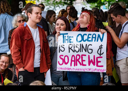 About 1000 school student gathered today November 29 2018 in front of Parliament House in Hobart, Tasmania to demand government action on global warming and climate change.