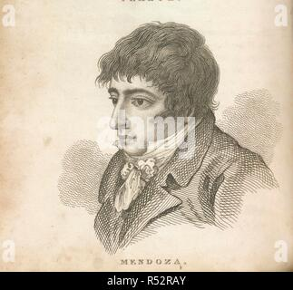 Daniel Mendoza. Boxiana; or Sketches of ancient and modern pugilis. G. Smeeton: London, 1812. Daniel Mendoza (1764-1836). Pugilist/Boxer. Portrait. Known as the 'father of scientific boxing'. Billed himself as 'Mendoza the Jew'. Became the heavyweight boxing champion of England. A favourite of the Prince of Wales, he was the first boxer to be accorded royal patronage.  Image taken from Boxiana; or Sketches of ancient and modern pugilism; from the days of the reowned Broughton and Slack, to the heroes of the present milling æra! By One of the Fancy [i.e. Pierce Egan]. [With plates.]  Originall - Stock Photo