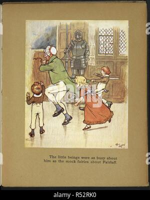 The little beings were as busy about him as the mock fairies about Falstaff - Children playing with an old man. Christmas Day. (Christmas Eve.) [From the Sketch Book.] ... Pictured in colour by Cecil Aldin. London : Hodder & Stoughton, [1910]. From 'Christmas Day'. Source: 12350.v.23. plate 4. - Stock Photo
