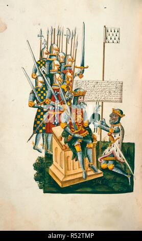 William I and Alan of Brittany. Sir Simonds D'Ewes Collections. England; early 17th century. [Whole folio] King William I presents a charter of the Honor of Richmond to his nephew, Alan, Earl of Brittany, who kneels before him, carrying his banner. Copied from the late 15th century Register of the Honor of Richmond [Cotton Faustina B. VII], for Sir Simonds D'Ewes  Image taken from Sir Simonds D'Ewes Collections.  Originally published/produced in England; early 17th century. . Source: Harley 624, f.146v. Language: Latin. - Stock Photo