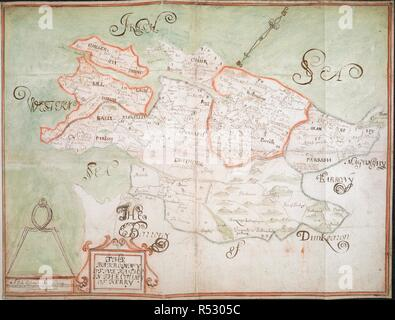 The Barronny of Iveragh', co. Kerry (Munster), by an unidentified surveyor; [1655-1656?]. North west at top. Scale: 320 perches to the inch [1:63360]. Showing boundaries of parishes (in colour) and townlands, with place-names. Rivers and areas of bog are indicated, and mountains and woodland shown pictorially. Cartouche decorated with scrolled border. Scale bar surmounted by compasses.  42.5 x 55cm.       . 'The Barronny of Iveragh', co. Kerry (Munster)'... Petty Papers. VOL. XXIV. Loose Down Survey maps; [1655?]-1659. [1655-1656?]. Source: Add.72873.E. Author: ANON. - Stock Photo