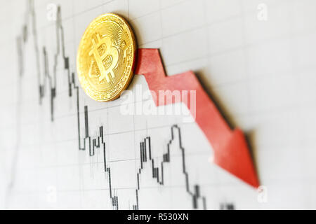 Depreciation of virtual money bitcoin. Exchange rate depreciation. Red arrow and golden Bitcoin ladder on paper forex chart background. Concept of dep - Stock Photo