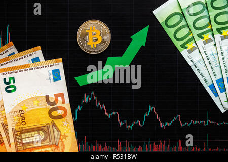 profitable investment of virtual money bitcoin. Green arrow and silver Bitcoin on black paper forex chart index rating go up on exchange market backgr - Stock Photo