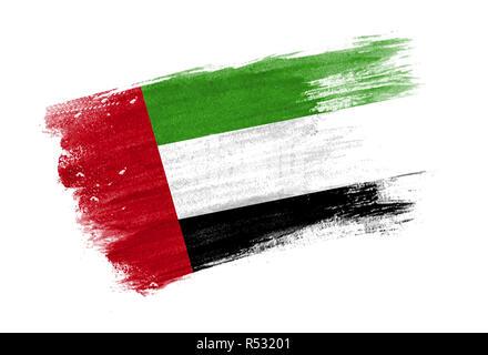 brush painted flag United Arab Emirates. Hand drawn style flag of United Arab Emirates - Stock Photo