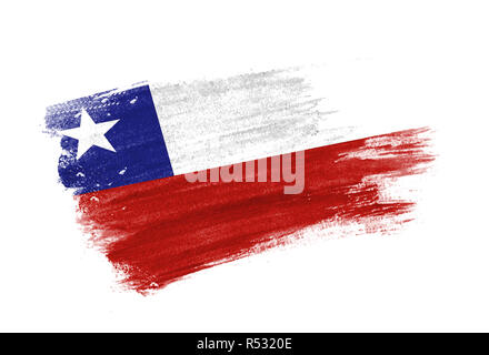 chile brush stroke country flag with independence day lettering for