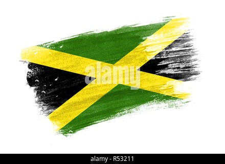 brush painted flag Jamaica. Hand drawn style flag of Jamaica - Stock Photo