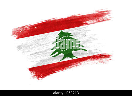 brush painted flag Lebanon. Hand drawn style flag of Lebanon