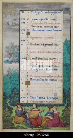 Whole folio) Calendar page for May. Gemini; historiated border with wooded landscape, a couple playing a flute and lute and another couple with a book, singing. Book of Hours. France; 16th century. (Whole folio) Calendar page for May. Gemini; historiated border with wooded landscape, and a couple playing flute and lute, and another couple with book, singing  Image taken from Book of Hours.  Originally published/produced in France; 16th century. . Source: Add. 35315, f.3v. Language: Latin. - Stock Photo