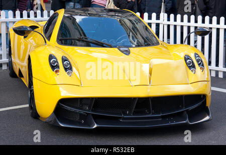 Three-quarter front view of  a  Pagani Huayra, in the supercar paddock at the 2018 Regents Street Motor Show - Stock Photo