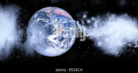 Planet Earth from the space with cosmic clouds. Solar system. Outer space panoramic landscape. Mixed media - Stock Photo