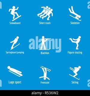 Winter sport symbols icons set. Simple illustration of 15 winter sport symbols vector icons for web - Stock Photo