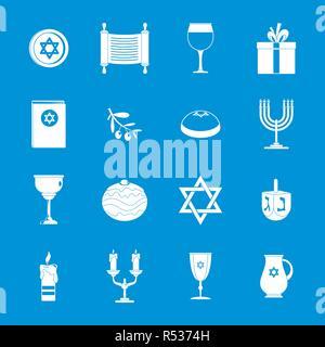 Chanukah jewish holiday icons set. Simple illustration of 16 chanukah jewish holiday vector icons for web - Stock Photo