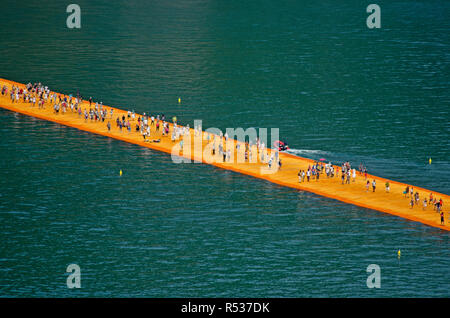 The Floating Piers by Chisto and Jeanne Claude, on Iseo lake between Sulzano e Monte Isola in Italy. It was on site fron June 18th to July 3rd, 2016 - Stock Photo