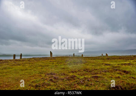 The Ring of Brodgar a Neolithic stone circle on the Mainland s part of the UNESCO World Heritage Site known as the Heart of Neolithic Orkney. 2017 - Stock Photo