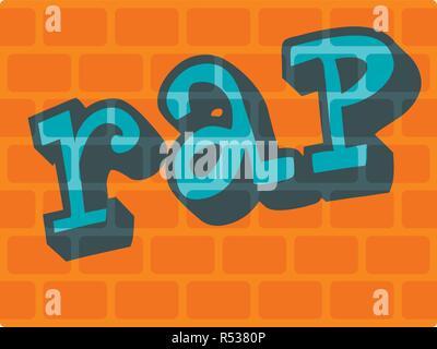 Rap on bricks wall icon. Flat illustration of rap on bricks wall vector icon for web design - Stock Photo